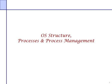 1 OS Structure, Processes & Process Management. 2 Recap OS functions  Coordinator  Protection  Communication  Resource management  Service provider.