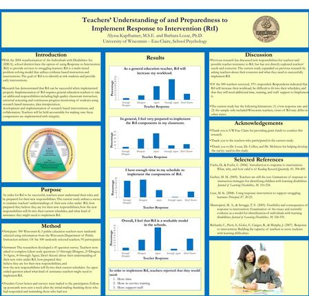 Teachers' Understanding of and Preparedness to Implement Response to Intervention (RtI) Alyssa Kapfhamer, M.S.E. and Barbara Lozar, Ph.D. University of.