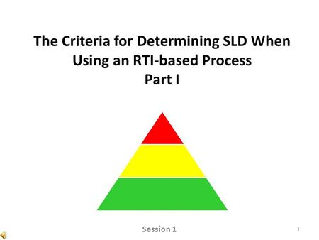 The Criteria for Determining SLD When Using an RTI-based Process Part I 1 Session 1.