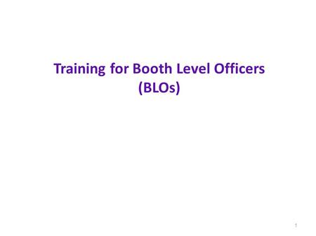 Training for Booth Level Officers (BLOs)