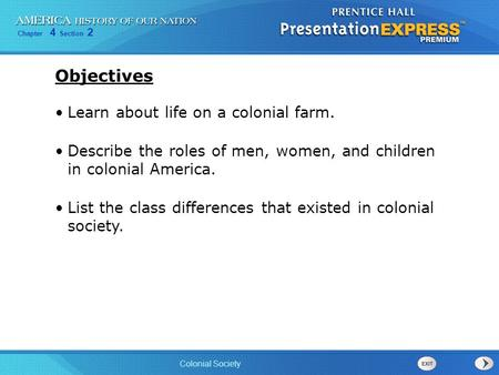 Objectives Learn about life on a colonial farm.