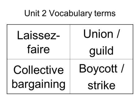 Unit 2 Vocabulary terms Laissez- faire Union / guild Collective bargaining Boycott / strike.