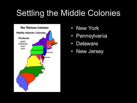 Settling the Middle Colonies New York Pennsylvania Delaware New Jersey.