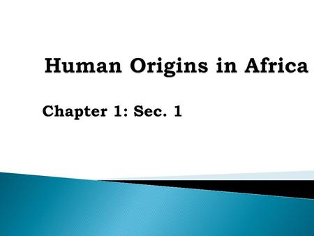 Chapter 1: Sec. 1. Describe key scientific findings about human origins. List human achievements during the Stone Age. Trace emergence of modern humans.