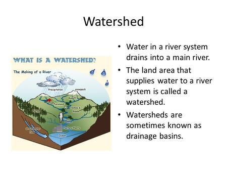 Watershed Water in a river system drains into a main river. The land area that supplies water to a river system is called a watershed. Watersheds are sometimes.