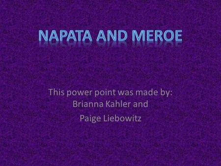 This power point was made by: Brianna Kahler and Paige Liebowitz.