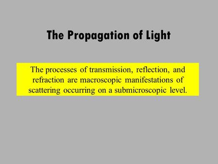 The Propagation of Light The processes of transmission, reflection, and refraction are macroscopic manifestations of scattering occurring on a submicroscopic.