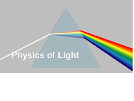 Light Electromagnetic waveElectromagnetic wave Needs NO medium to travelNeeds NO medium to travel Transverse wave.Transverse wave. Speed of Light – 3.00.