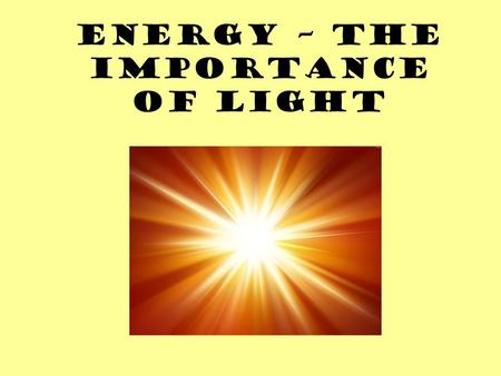 Energy – The Importance of Light. REVIEW Producers are the most important part of a food chain because without them the next trophic levels would have.
