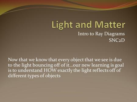 Intro to Ray Diagrams SNC2D Now that we know that every object that we see is due to the light bouncing off of it…our new learning is goal is to understand.