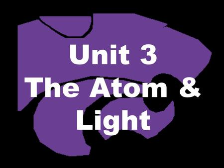 Unit 3 The Atom & Light. Today… Turn in: –Goal Sheet – fill out & turn in Our Plan: –New Calendar –Inquiry Part 1 (10 minutes) + Video –Start Part 2 –Wrap.