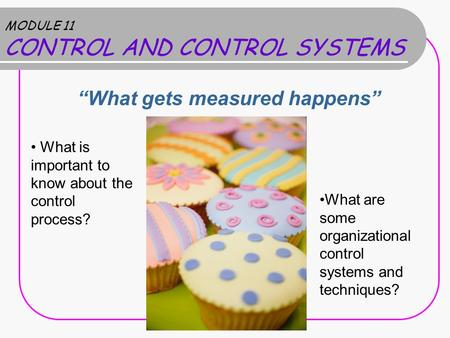 "MODULE 11 CONTROL AND CONTROL SYSTEMS ""What gets measured happens"" What is important to know about the control process? What are some organizational control."