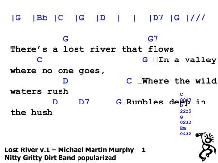 Lost River v.1 – Michael Martin Murphy 1 Nitty Gritty Dirt Band popularized |G |Bb |C |G |D | | |D7 |G |/// G G7 There's a lost river that flows C G In.
