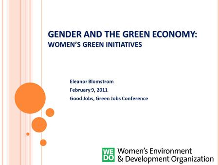 GENDER AND THE GREEN ECONOMY: WOMEN'S GREEN INITIATIVES Eleanor Blomstrom February 9, 2011 Good Jobs, Green Jobs Conference.