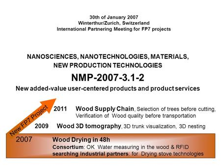 30th of January 2007 Winterthur/Zurich, Switzerland International Partnering Meeting for FP7 projects NANOSCIENCES, NANOTECHNOLOGIES, MATERIALS, NEW PRODUCTION.