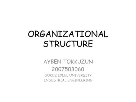 ORGANIZATIONAL STRUCTURE AYBEN TOKKUZUN 2007503060 DOKUZ EYLUL UNIVERSITY INDUSTRIAL ENGINEERING.
