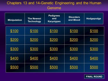 Chapters 13 and 14-Genetic Engineering and the Human Genome $100 $200 $300 $400 $500 $100$100$100 $200 $300 $400 $500 Minipulation The Newest Technology.