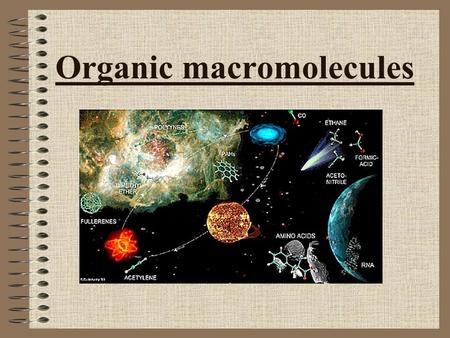 Organic macromolecules. Intro to organic molecules Organic molecules by definition contain carbon. Many organic molecules are made of chains, called polymers.
