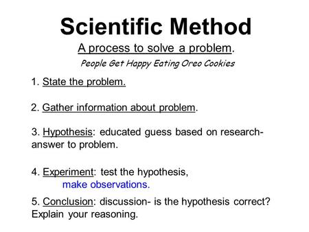 Scientific Method A process to solve a problem. State the problem.