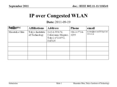 Doc.: IEEE 802.11-11/1183r0 Submission September 2011 Masataka Ohta, Tokyo Institute of TechnologySlide 1 IP over Congested WLAN Date: 2011-09-19 Authors: