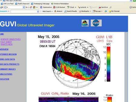 Shows the data from one orbit This is the page to go to to look at the GUVI data in the form of images.