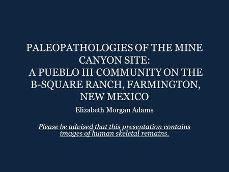 PALEOPATHOLOGIES OF THE MINE CANYON SITE: A PUEBLO III COMMUNITY ON THE B-SQUARE RANCH, FARMINGTON, NEW MEXICO Elizabeth Morgan Adams Please be advised.