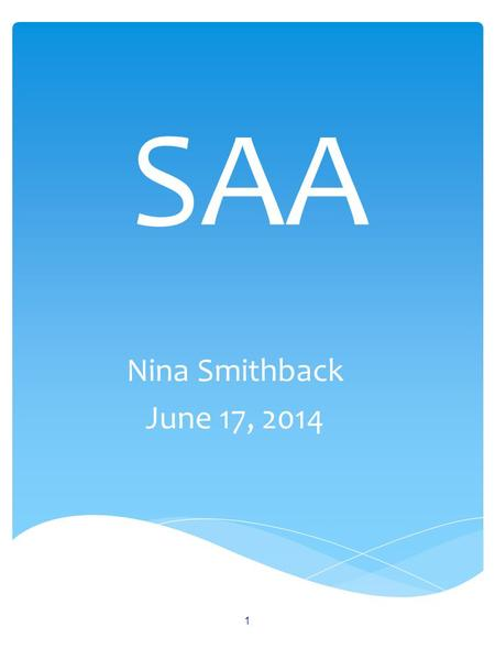SAA Nina Smithback June 17, 2014 1.  SAA and VA Contact Info and Resources  Approved School Categories and Assigned SAA Consultant  New SAA Catalog.