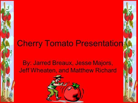 Cherry Tomato Presentation By: Jarred Breaux, Jesse Majors, Jeff Wheaten, and Matthew Richard.