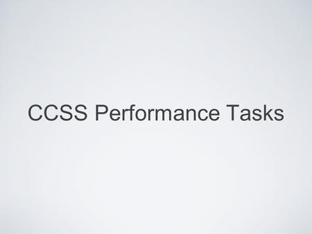CCSS Performance Tasks