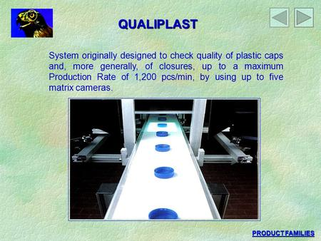 QUALIPLAST System originally designed to check quality of plastic caps and, more generally, of closures, up to a maximum Production Rate of 1,200 pcs/min,