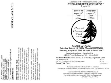 CASCADE COURSING CLUB Christy Maxfield, Test Sec. 1024 Point Fosdick Dr NW Gig Harbor WA 98335-7821 (253) 882.9969 Dated Material.