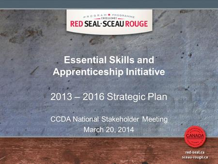 Essential Skills and Apprenticeship Initiative 2013 – 2016 Strategic Plan CCDA National Stakeholder Meeting March 20, 2014.
