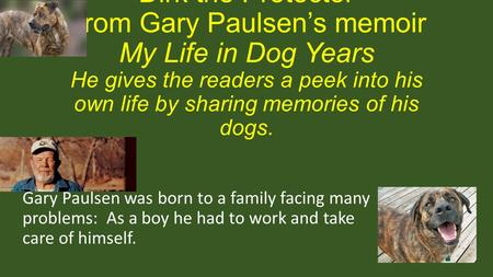 """Dirk the Protector"" From Gary Paulsen's memoir My Life in Dog Years He gives the readers a peek into his own life by sharing memories of his dogs. Gary."