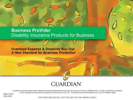 Business ProVider Disability Insurance Products for Business Overhead Expense & Disability Buy-Out A New Standard for Business Protection Disability income.