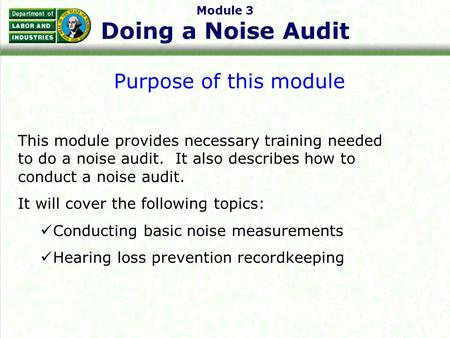 Module 3 Doing a Noise Audit Purpose of this module This module provides necessary training needed to do a noise audit. It also describes how to conduct.