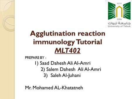 Agglutination reaction immunology Tutorial MLT402