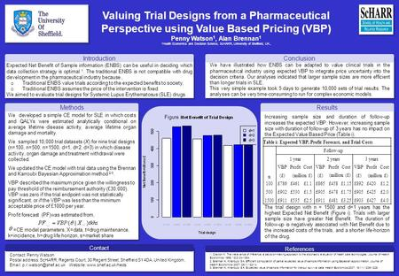 Valuing Trial Designs from a Pharmaceutical Perspective using Value Based Pricing (VBP) Penny Watson 1, Alan Brennan 1 1 Health Economics and Decision.