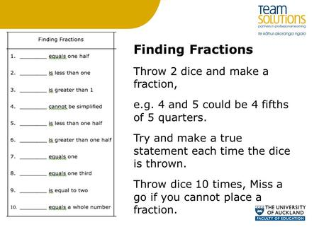 Finding Fractions Throw 2 dice and make a fraction, e.g. 4 and 5 could be 4 fifths of 5 quarters. Try and make a true statement each time the dice is thrown.