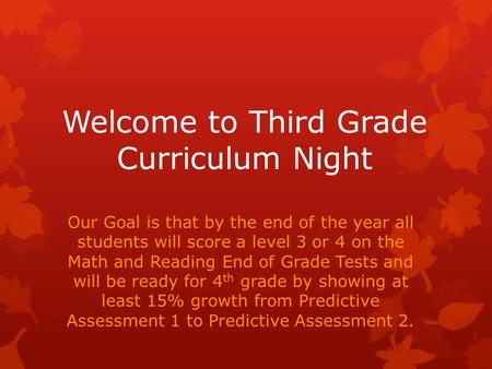 Welcome to Third Grade Curriculum Night Our Goal is that by the end of the year all students will score a level 3 or 4 on the Math and Reading End of Grade.