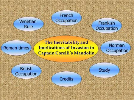<strong>The</strong> Inevitability and Implications <strong>of</strong> Invasion in Captain Corelli's Mandolin Roman times Norman Occupation Frankish Occupation Venetian Rule French Occupation.