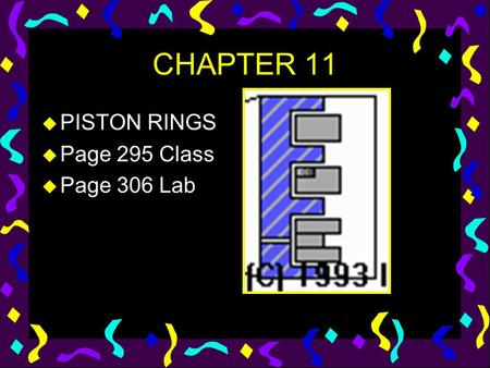CHAPTER 11 u PISTON RINGS u Page 295 Class u Page 306 Lab.