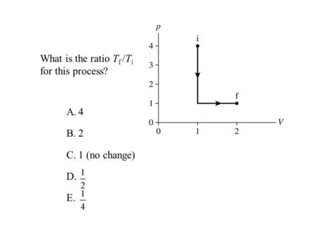 What is the ratio T f /T i for this process? A.4 B.2 C.1 (no change) D. E.