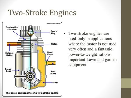Two-Stroke Engines Two-stroke engines are used only in applications where the motor is not used very often and a fantastic power-to-weight ratio is important.