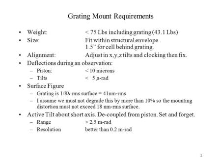 "1 Grating Mount Requirements Weight:< 75 Lbs including grating (43.1 Lbs) Size:Fit within structural envelope. 1.5"" for cell behind grating. Alignment:Adjust."