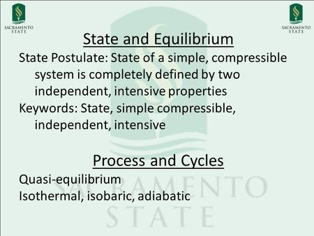 State and Equilibrium Process and Cycles