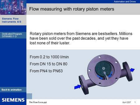 Automation and Drives Siemens Flow Instruments A/S The Flow Force.pptApril 2007 1 Dedicated Program SITRANS F R Back to animation Flow measuring with rotary.