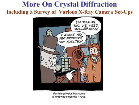 More On Crystal Diffraction Including a Survey of Various X-Ray Camera Set-Ups.