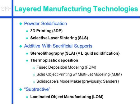 Layered Manufacturing Technologies u Powder Solidification l 3D Printing (3DP) l Selective Laser Sintering (SLS) u Additive With Sacrificial Supports l.