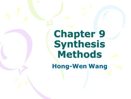 Chapter 9 Synthesis Methods Hong-Wen Wang. How to prepare ceramic powders ? Sol-Gel Process Aqueous solution (from metal salts or colloidal particles)