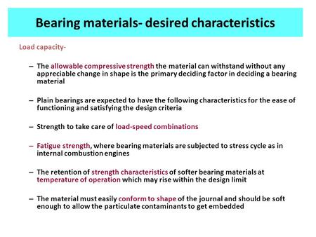 Bearing materials- desired characteristics